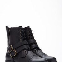 Buckled Lace-Up Boots