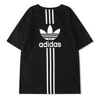 Adidas New fashion letter leaf stripe print couple top t-shirt Black