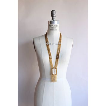 Vintage 1920s Style Gold Seed Bead Necklace