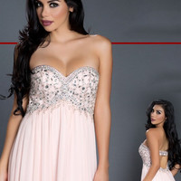 Black Label Couture 15 Empire Waist Beaded Chiffon Evening Gown Prom Dress