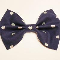 Navy Heart Bow • Cotton Hair Bow • Silver Heart Bow • Navy Silver Hairbow • Blue Silver Fabric  • Gifts For Girls • Women's Fashion •Spring