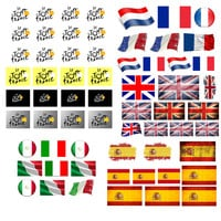 MTB Bicycle Cycling Sticker Bike Skateboard Decal Scratch Sticker Tour de France Italy United Kingdom Spain Flag Racing Stickers