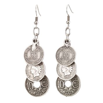 Three Tiered Antique Coin Earrings