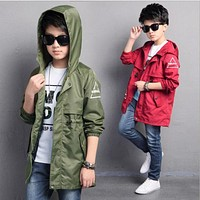 New boy's jacket spring for 6 7 9 10 12 13 15 years clothing, 2017 children's clothes green coat big boys long trench coat brand