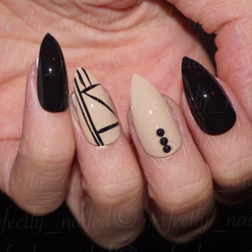 Black and Nude Geometric and Diamante Handpainted False Nails • Fake Nails • Press on Nails • Stick on Nails