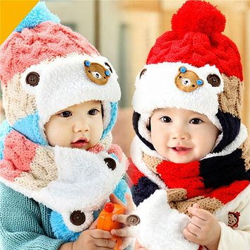 Baby Hat and Scarf Cute Bear Crochet Knitted Baby Caps for Neck Warmer Baby Cap Hats For Girls Winter Children's Hats Kids