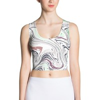 Minty marble Sublimation Cut & Sew Crop Top