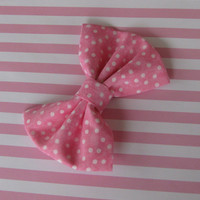 Pink fabric bow, girls polka dot hair bow, boutique bows, girl hair clip, shabby chic hairbows, white dots, preppy pinup rockabilly classic