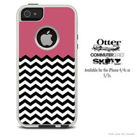 The Solid Pink & Chevron Pattern Skin For The iPhone 4-4s or 5-5s Otterbox Commuter Case