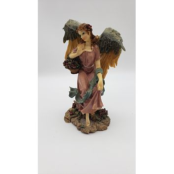 8in Resin Angel with Flower Bouquet Figurine
