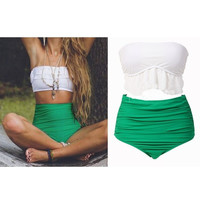 New women retro high waist bikinis set Flouncing swimwear biquini vintage swimsuit women bandage bikini bathing suit = 1646038916