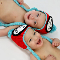 0 to 3M Dr Suess Thing 1 and Thing 2 Earflap Hat by NatsCustomHats