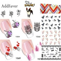 Addfavor 2 Sheets Flower Design Water Transfer Nail Sticker Cute Animal Fingernail Decals Manicure Nail Art DIY Tips