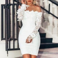 Summer New Lace Shoulder Long Sleeve Dress White