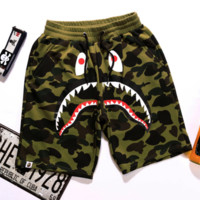 BAPE SHARK Fashion Shark mouth print Camouflage green blue purple shorts pants