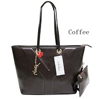 YSL female exquisite fashion two-piece leather handbag F-MYJSY-BB Coffee