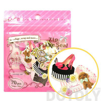Fashion Themed Shoes Heels and Accessories Shaped Sticker Flake Seal Pack From Japan   70 Pieces   Cute Scrapbook Supplies