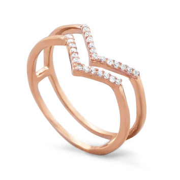 """Rose Gold Plated Double Row Cubic Zirconia """"V"""" Ring"""
