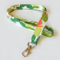 Cactus Lanyard / Southwest Lanyard / Pretty Keychain / Desert / Key Lanyard / ID Badge Holder / Fabric Lanyard / Cacti