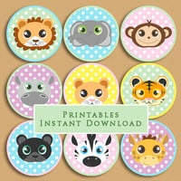 Baby Jungle Animals Printable Cupcake Toppers Baby Shower or Birthday DIY Printable INSTANT DOWNLOAD