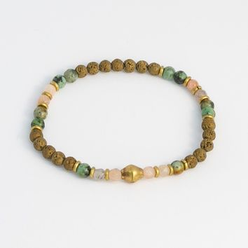 Delicate Sunstone and African Turquoise Aromatherapy Bracelet