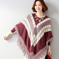 Geometric Pattern Tassels Knitted Batwing Sleeve Loose Cloak