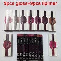 9 colors HUDA Beauty Liquid lipstick + 9 colors Lip Liner moisturizing Mousse velvet matte pearlescent lip gloss waterproof