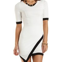 Asymmetrical Bodycon Dress with Trim by Charlotte Russe - White