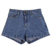 High-waist Roll-up Shorts