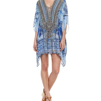 Printed Lace-Up Short Caftan, Size: ONE SIZE, POWER OF PRAYER - Camilla