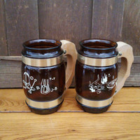 Vintage Amber Siesta Ware Mugs Set of 2 Western Themed