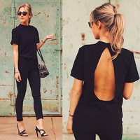 2017 new Cute Women Blouse Fashion black Open Back Sexy tops short Sleeve Shirt Women Summer Clothes