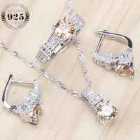 Bridal Jewelry Sets Zirconia Stone Earrings For Women Wedding 925 Sterling Silver Jewelry With Ring Pendant Necklace Set