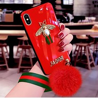 DIOR Stylish Silicone Soft Shell Individual Creative Luxury Bee Ball Slant Fall Proof iPhone X Mobile Phone Case Cover Red I12486-1