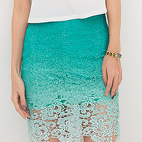 Blue Gradient Crochet Lace Pencil Skirt