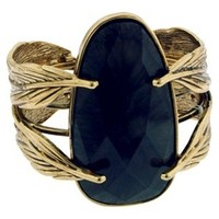 Hinged Feather Cuff with Matrix Stone - Gold