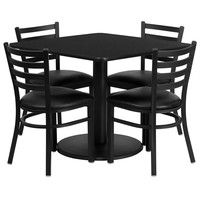 Square Black Laminate Table Set with 4 Ladder Back Metal Chairs - Black Vinyl Seat