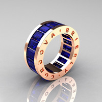 Mens Modern 10K Rose Gold Blue Sapphire Channel Cluster Infinity Wedding Band R174-10RGBS
