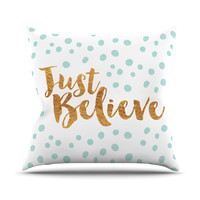 "Nick Atkinson ""Just Believe"" White Gold Throw Pillow"