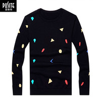 PUSITE 's O-Neck Exquisite Colorful Jacquard Dot Pullover Elasticity Thin Sweaters