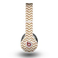 The Wood & White Chevron Pattern Skin for the Beats by Dre Original Solo-Solo HD Headphones