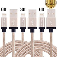 Mscrosmi 1Pack 3FT 2 Pack 6FT Lightning Cable Nylon Braided USB Charging Cable Cord for iPhone 7,7 plus,SE, 6s, 6Plus 6, 5s 5c 5, iPad Air mini min2, iPad 4, iPod 5, iPod 7, iOS9(Gold)