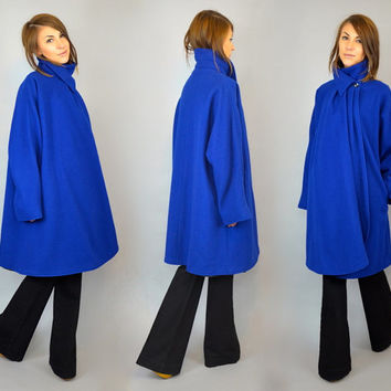 vtg 80's STRUCTURED avant garde modern oversized draped wool cocoon COBALT COAT cape, extra small-small