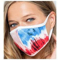Keeping it in Style! Red Blue Tie Dye Face Mask