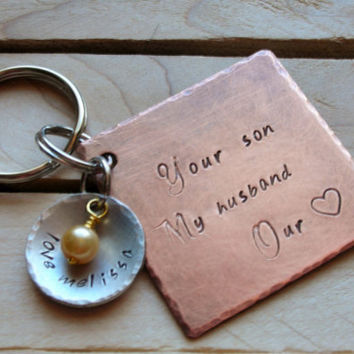 Mother In Law Gift-Daughter in Law Gift-Mothers Day - Personalized Keychain or Purse Charm-Wedding-Mother of the Groom-Bride