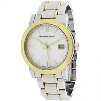 Burberry Silver Dial Two-tone Silver and Gold-tone Bracelet Ladies Watch BU9115
