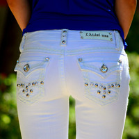 L.A. IDOL WHITE BLING ROCK BERMUDA SHORTS