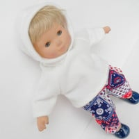 Doll Clothes, HANDMADE to fit 15 inch bitty baby, Hoodie & Red White Blue Pants