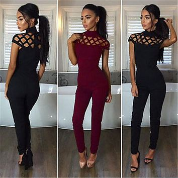 Fashion Women Jumpsuit Ladies Bodycon Slim Skinny Solid Cotton Blend Short Sleeve Romper Jumpsuit Club Mesh Long Pants