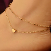 Love Heart Anklet ~ Gold Tone